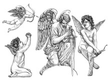 Vintage Angels And Cherubs In Classic Hand Drawn Art , Statues Of Engels, Thin And Fine Lines, Statuesque Style, Black And White