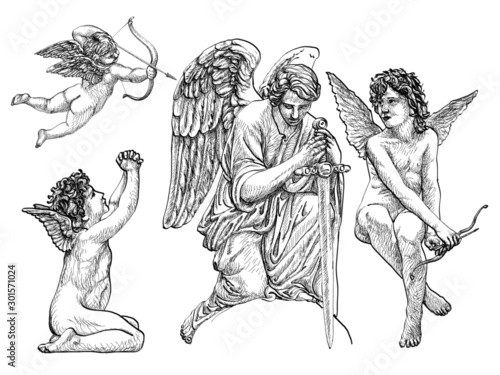 Vintage Angels and Cherubs, hand-drawn, thin and fine lines, statuesque style, b Wallpaper Mural