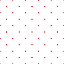 Red Polka Dot Seamless Pattern On The White Background, Abstract Geometrical Simple Image Illustration, Repeat Ornament