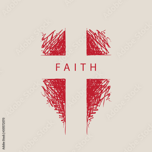 Foto The sign of the abstract hand-drawn cross with the word faith
