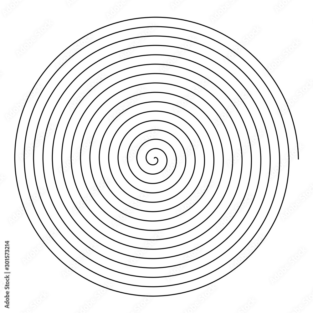 Fototapeta Line in circle form. Single thin line spiral goes to edge of canvas. Vector illustration