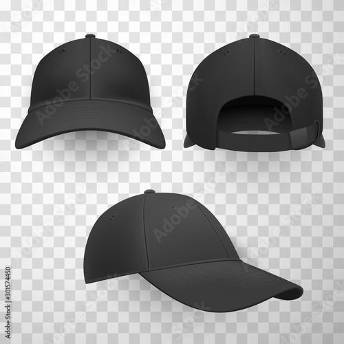 Black baseball caps realistic vector illustrations set Canvas-taulu