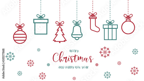 Fotografia, Obraz Świąteczne ozdoby dekoracje na białym tle