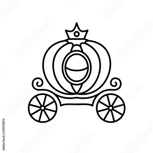 Leinwand Poster Pumpkin carriage line style illustration