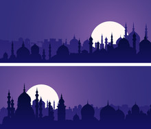 Horizontal Banners Of Eastern City With Minarets And Domes At Night.