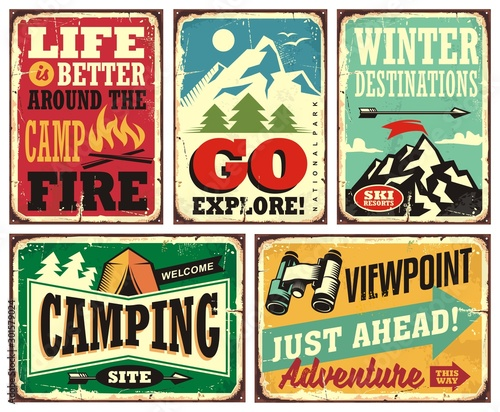 Hiking and camping retro signs collection. Outdoor activities vintage posters set. Wilderness and adventures vector illustration. © lukeruk