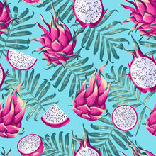 Seamless Pattern With Dragon F...