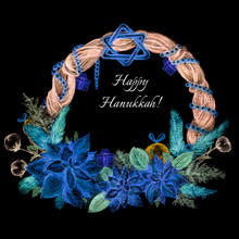 Hanukkah Wreath. Hand-drawn. Watercolor. Isolated On Black. Jewish Holiday. Traditional Symbols.Christmas Tree Branches, Holly, Gift Box, David Star, Gelts. Blue. Copy Space. Square