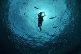 Taucherin am Makrelenschwarm