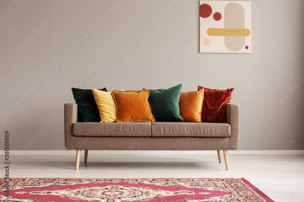 Fototapeta Vintage style grey living room interior with trendy sofa