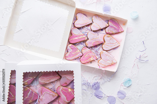Boxes with cookies in the form of marble hearts for gifts Canvas Print