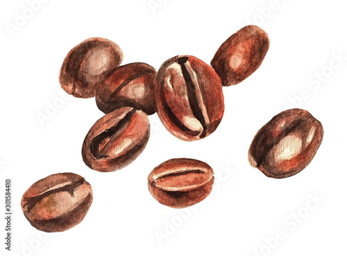 Photo Coffee beans, watercolor