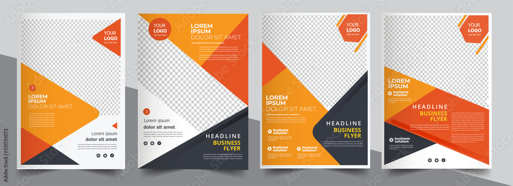 Fototapety, obrazy: Brochure design, cover modern layout, annual report, poster, flyer in A4 with colorful triangles