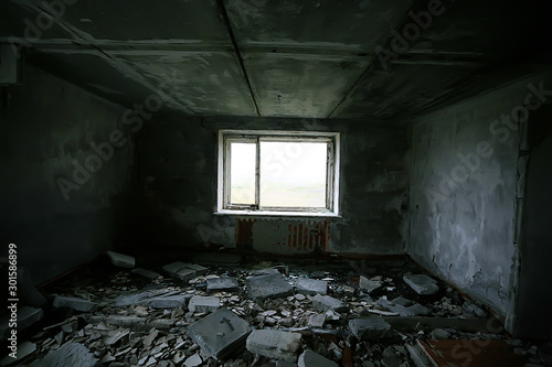 interior of an old stone house abandoned / background old ruined stone house rui Wallpaper Mural