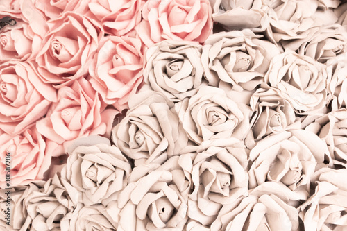 Rose handicraft from paper sort for use background vintage style - 301587286