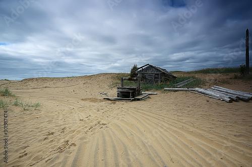 Slika na platnu desertification, climate change concept, global warming / desert landscape