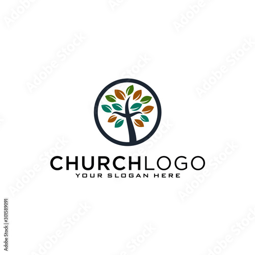 Fotomural Church vector logo symbol graphic abstract template