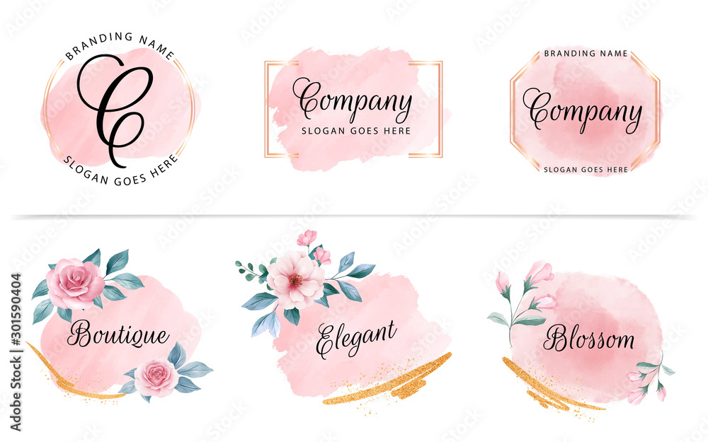 Fototapeta Set of feminine badge with peach watercolor background, flowers, and gold glitter. Beautiful logo for branding and wedding card composition design concept