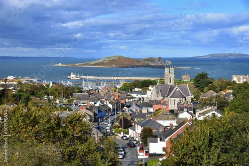 view on the church howth and sea Canvas Print