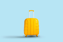 Yellow Suitcase On A Blue Background. Travel And Vacation Concept In Triples. Flat Lay, Top View