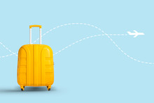 Yellow Suitcase On A White Background With A Flying Airplane Icon. Travel And Vacation Concept, Business Trip. Flat Lay, Top View