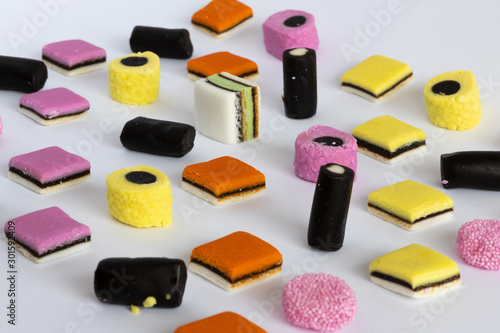 Photo Licorice Allsorts in a orderly pattern