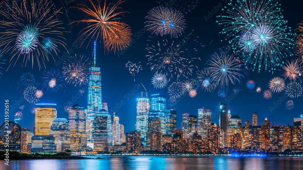 Fototapety, obrazy: New Years Eve with colorful Fireworks over New York City skyline long exposure with beautiful dark blue sky, sci-fi orange city light glow and reflections in the river
