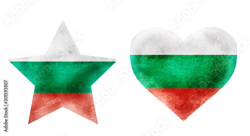 Watercolor star and heart flag background on white Canvas Print