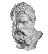 Gypsum Copy Of Ancient Statue Heracles Head Isolated On White Background. Plaster Sculpture Man Face.