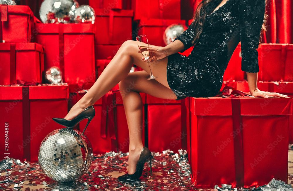 Fototapeta New year girls