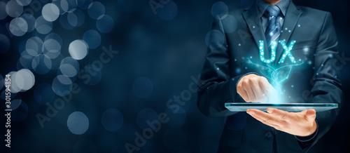 Obraz User experience on digital tablet app - UX concept - fototapety do salonu