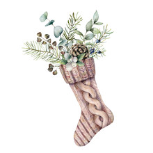 Watercolor Christmas Sock With Winter Floral Decor. Hand Painted Holiday Symbol With Fir Branches, Berries And Seeds Isolated On White Background. Illustration For Design, Print, Fabric Or Background.
