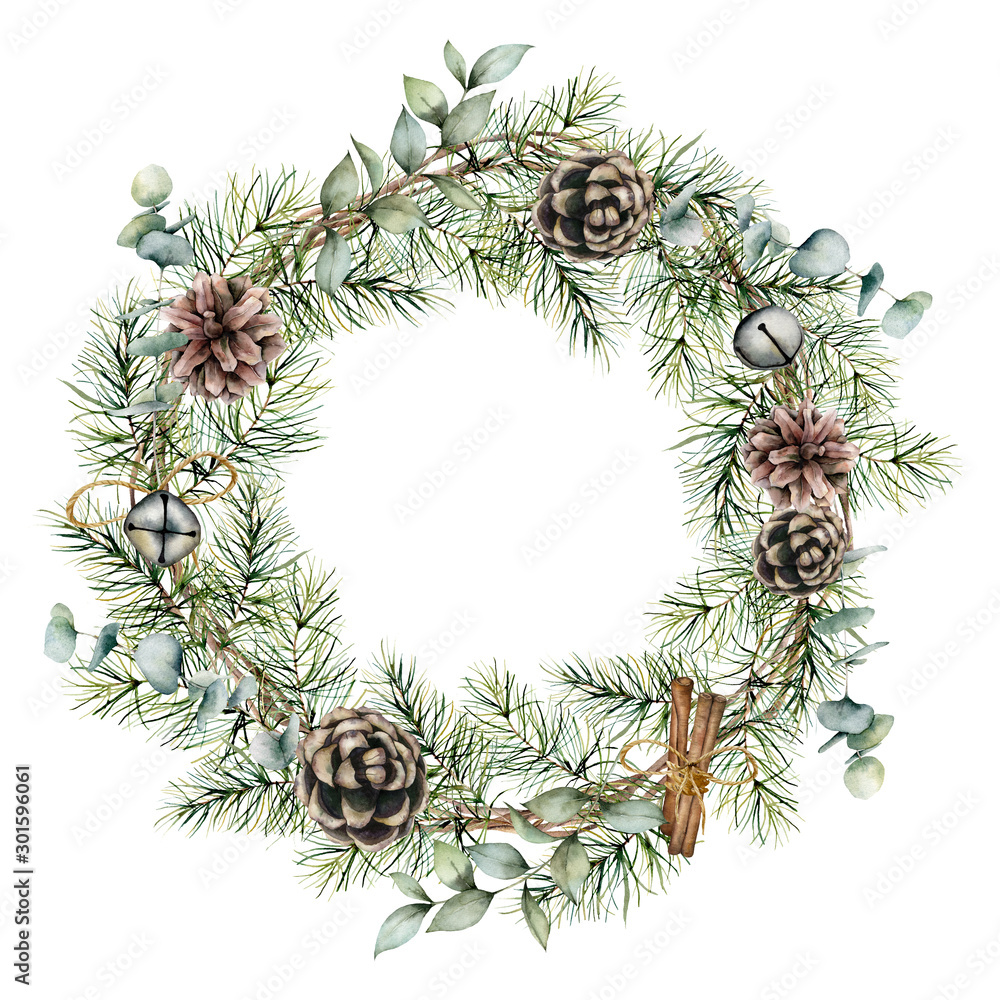 Fototapety, obrazy: Watercolor Christmas wreath with pine cones decor. Hand painted card with bells, cinnamon, eucalyptus and pine branches isolated on white background. Floral illustration for design or print.