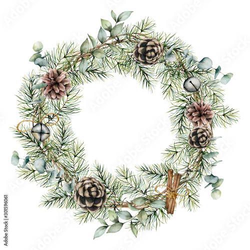 Obraz Watercolor Christmas wreath with pine cones decor. Hand painted card with bells, cinnamon, eucalyptus and pine branches isolated on white background. Floral illustration for design or print. - fototapety do salonu