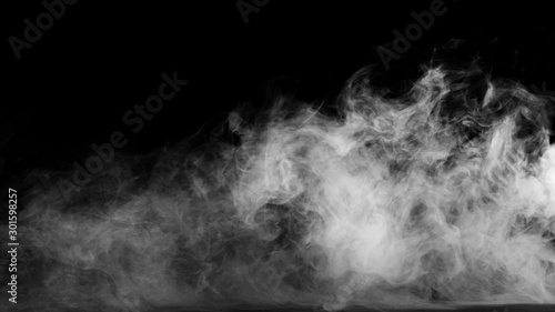 White smoke collection on black background. Wallpaper Mural