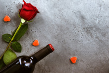 1 Red Rose, A Bottle Of Red Wi...