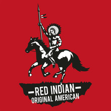 Person Native American Raise Hand Meant Victory,red Background,for Shirt And Print Design,monochrome Style,vector Illustration