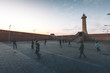 canvas print picture - Kids playing Soccer by the Rabat Lighthouse - Morocco