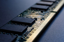 Random Access Memory Module On A Dark Background. The Concept Of Lack Of Memory, Poor Mental Process Of A Person, The Need For Self-development. Selective Focus.
