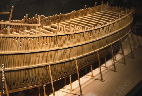 Photo Balsa wood model boat in construction
