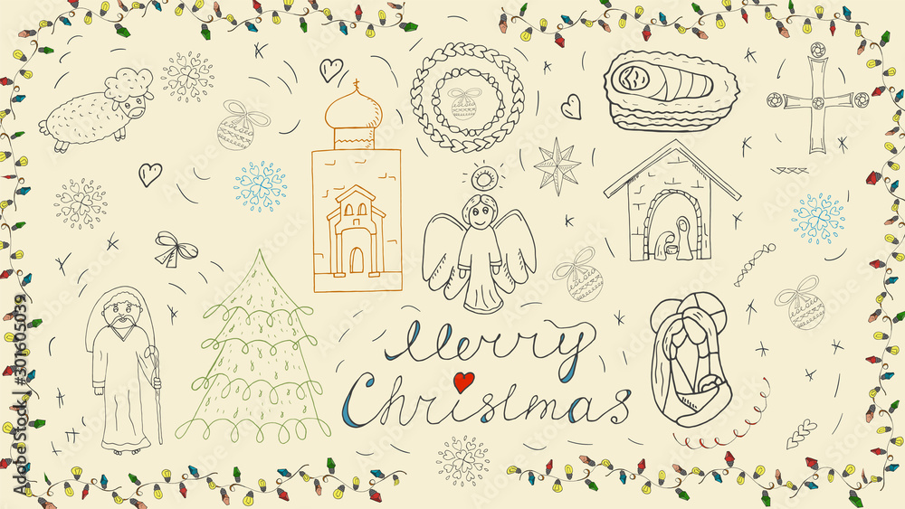 Fototapety, obrazy: Orthodox Christmas new year outline icon set for decoration design festive illustrations in the style of childrens Doodle background isolated