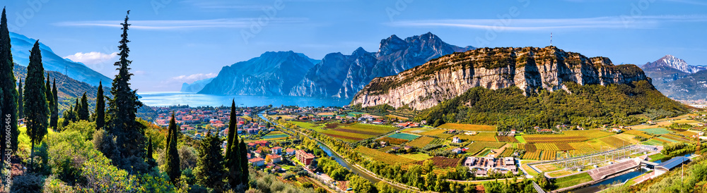 Fototapety, obrazy: Beautiful aerial view of Torbole, Lake Garda (Lago di Garda) and the mountains, Italy