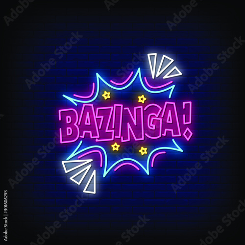 Photo Bazinga Neon Signs Style Text Vector