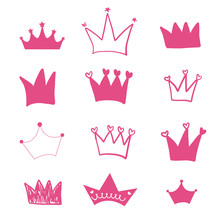 Hand Drawn Doodle Pink Crown I...
