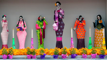 Colorful Day Of The Dead Figurines In Mexico City