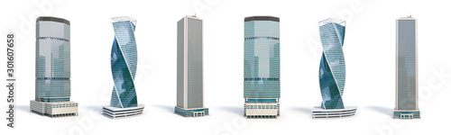 Fototapeta Set of different skyscraper buildings isolated on white. obraz
