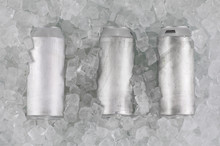 Can Of Beer With Cold Ice Cubes