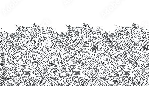 Oriental wave seamless background. Line art Illustration Canvas-taulu