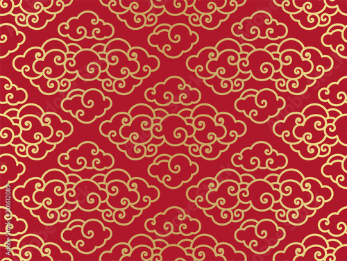 Chinese clouds traditional seamless background.Red and gold color. - Vector.