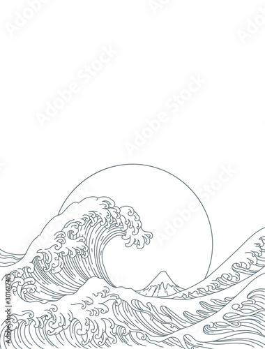 Big Asian ocean wave and the big sun and the mountain illustration Canvas Print
